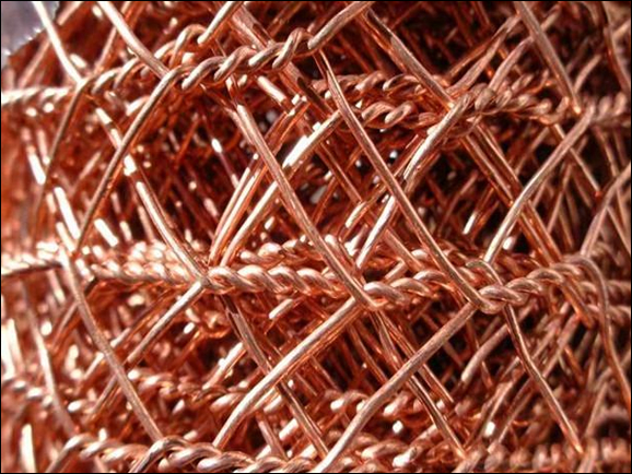 Copper hexagonal wire net in copper, brass and phosphor bronze finish